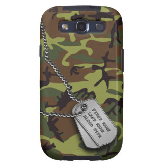 Green Camo w/ Dog Tags Samsung Galaxy S3 Cover