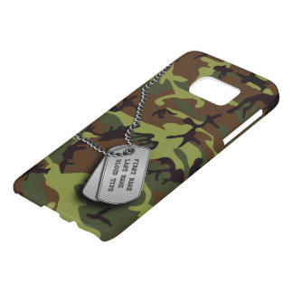 Green Camo w/ Dog Tags Samsung Galaxy S7 Case