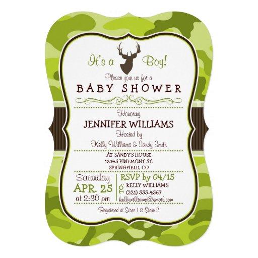"Green Camo with Buck; Boy Baby Shower Invitation 5"" X 7 ..."