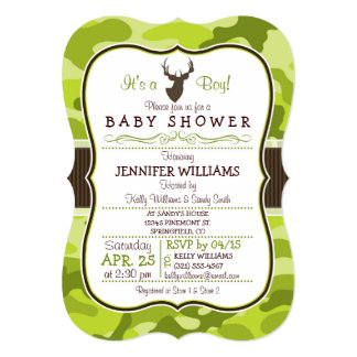 Green Camo with Buck; Boy Baby Shower Invitation