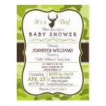 Green Camo with Buck; Boy Baby Shower Invitation Postcard