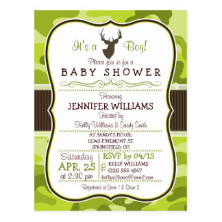 Green Camo with Buck; Boy Baby Shower Invitation Postcard