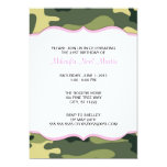 Green Camo with Light Pink Birthday Party Invite