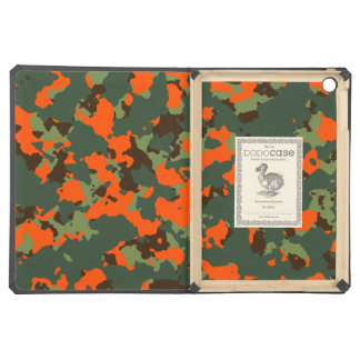 Green Camo with Safety Blaze Orange iPad Air Cases