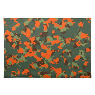 Green Camo with Safety Blaze Orange Placemat