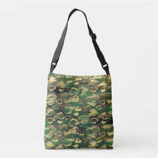 Green Camoflauge Heart Crossbody Bag