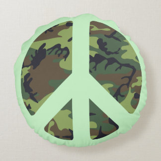 GREEN CAMOUFLAGE AND PEACE SIGN Round Pillow