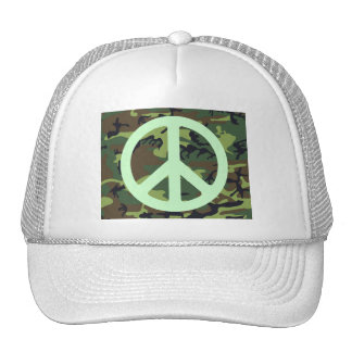 GREEN CAMOUFLAGE AND PEACE SIGN Trucker Hat