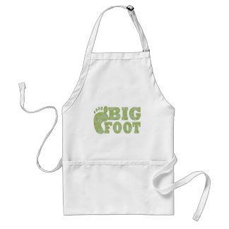 Green camouflage Bigfoot text Adult Apron