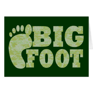 Green camouflage Bigfoot text Card