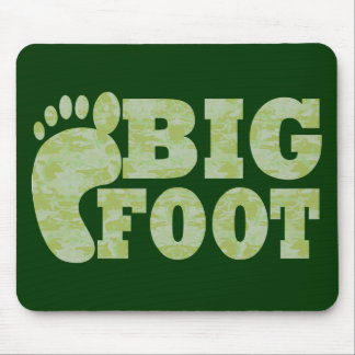 Green camouflage Bigfoot text Mouse Pad