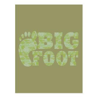 Green camouflage Bigfoot text Postcard