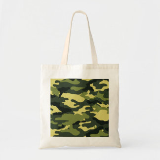 Green camouflage budget tote bag