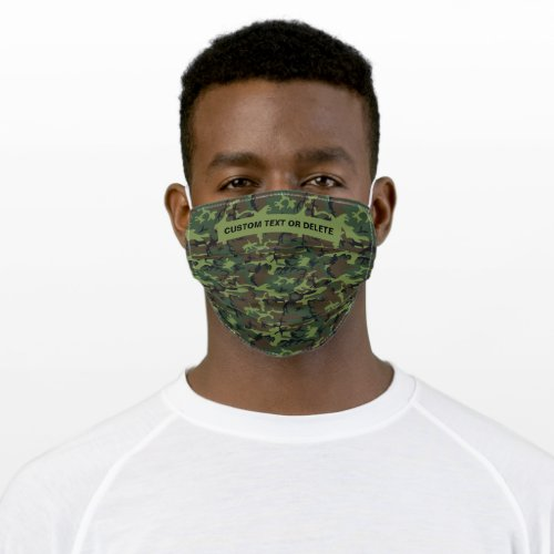 Green Camouflage Camo Pattern with Custom Text Cloth Face Mask