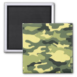 Green Camouflage Camo texture 2 Inch Square Magnet