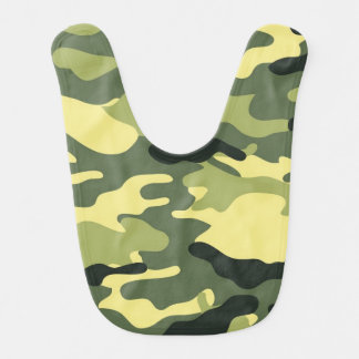 Green Camouflage Camo texture Baby Bib