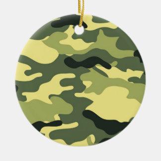 Green Camouflage Camo texture Ceramic Ornament