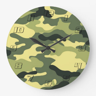 Green Camouflage Camo texture with Numbers Large Clock