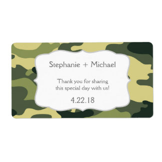Green Camouflage Camo Water Bottle Favor Label