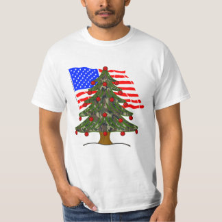 Green Camouflage Christmas Tree With American Flag T Shirt