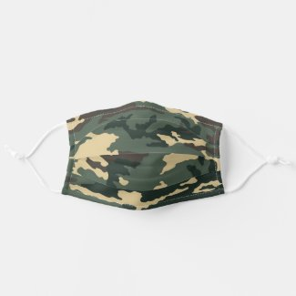 Green Camouflage Cloth Face Mask