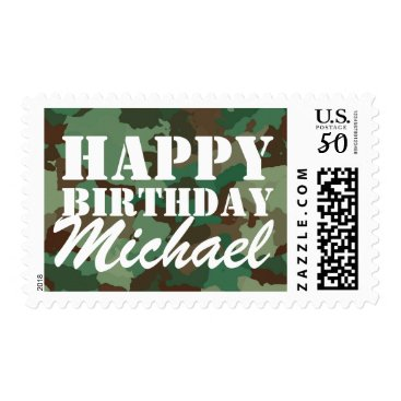 Green Camouflage Happy Birthday Personalized Postage