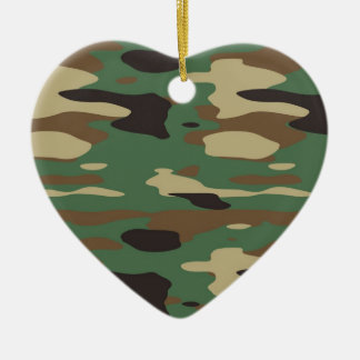 Green Camouflage Heart Christmas Ornament