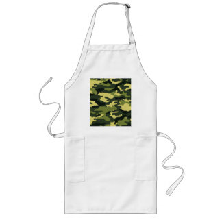 Green camouflage long apron