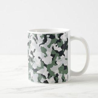 Green camouflage pattern classic white coffee mug