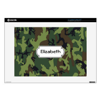 Green Camouflage Pattern Monogram Laptop Skin