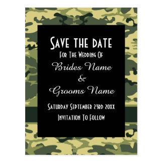 Green camouflage pattern save the date postcard