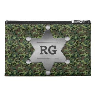 Green Camouflage Pattern Sheriff Badge Monogram Travel Accessory Bag