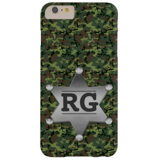 Green Camouflage Pattern Sheriff Badge Monogram Barely There iPhone 6 Plus Case