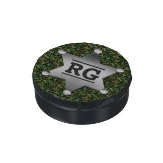 Green Camouflage Pattern Sheriff Badge Monogram Candy Tins