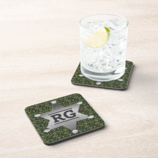 Green Camouflage Pattern Sheriff Badge Monogram Drink Coaster