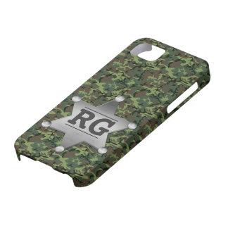 Green Camouflage Pattern Sheriff Badge Monogram iPhone SE/5/5s Case