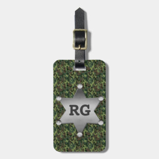 Green Camouflage Pattern Sheriff Badge Monogram Tag For Bags