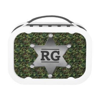 Green Camouflage Pattern Sheriff Badge Monogram Yubo Lunchboxes