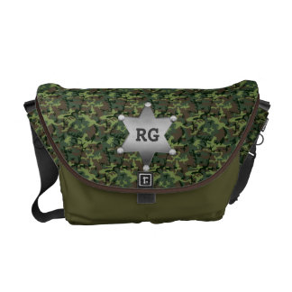 Green Camouflage Pattern Sheriff Badge Monogram Messenger Bag