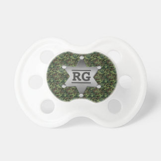 Green Camouflage Pattern Sheriff Badge Monogram Pacifier