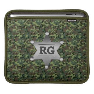 Green Camouflage Pattern Sheriff Badge Monogram Sleeve For iPads