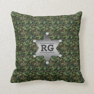 Green Camouflage Pattern Sheriff Badge Monogram Throw Pillow