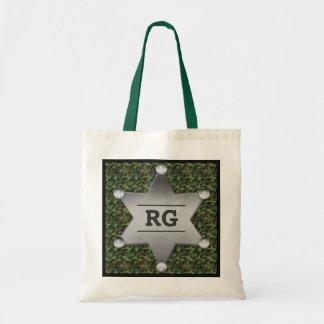 Green Camouflage Pattern Sheriff Badge Monogram Tote Bag