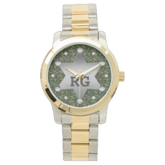 Green Camouflage Pattern Sheriff Badge Monogram Watches