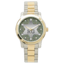 Green Camouflage Pattern Sheriff Badge Monogram Wrist Watch