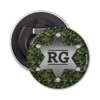Green Camouflage Pattern Sheriff Badge Monogram Button Bottle Opener