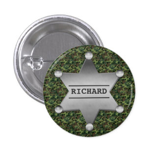 Green Camouflage Pattern Sheriff Name Badge Button