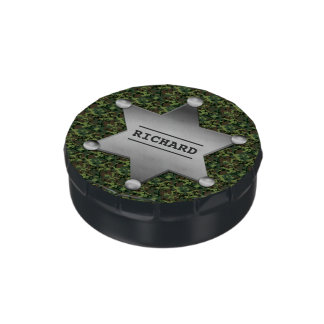 Green Camouflage Pattern Sheriff Name Badge Candy Tins