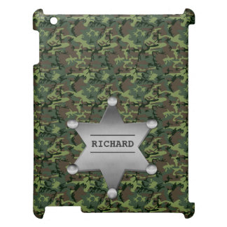 Green Camouflage Pattern Sheriff Name Badge Case For The iPad 2 3 4