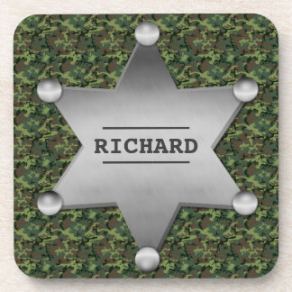Green Camouflage Pattern Sheriff Name Badge Coaster